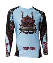 "Maglietta MMA TOP TEN Rash Guard ""Samurai"" Blu/Nero Manica Lunga"