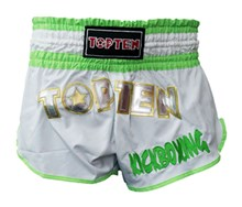 Pantaloncini Kickboxing Thai TOP TEN FLEXZ Bianco/Verde