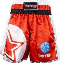 "Pantaloncini Kickboxing TOP TEN ""WAKO STAR"" Rosso"